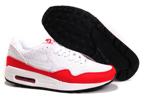 Nike Air Max 1 Unisex White Red Running Shoes Outlet Online